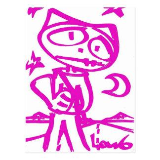 "Stitchlip ROSADO (el gato del dibujo animado) ""que Tarjeta Postal"