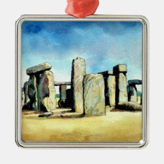 Stonehenge 2 adorno navideño cuadrado de metal