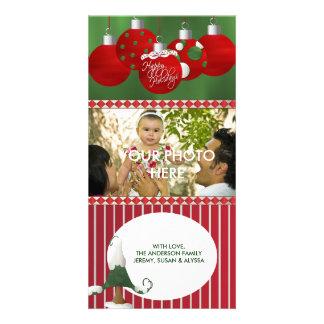 StripesTree rojo adorna la tarjeta de Navidad de l Tarjeta Personal Con Foto