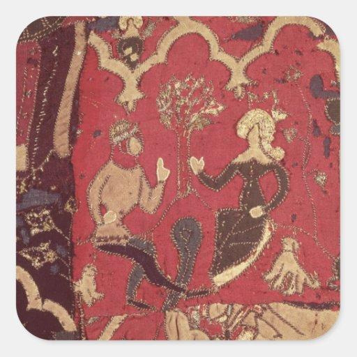 Stumpwork que representa Tristan y a Isolda Pegatina Cuadradas Personalizadas