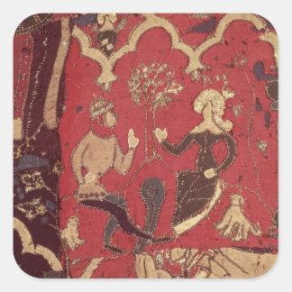 Stumpwork que representa Tristan y a Isolda Pegatina Cuadrada