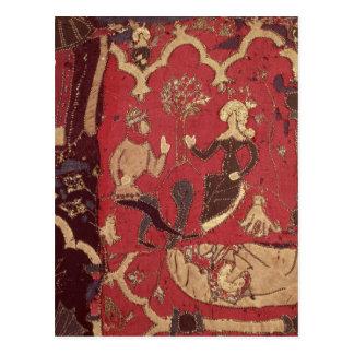 Stumpwork que representa Tristan y a Isolda Postal
