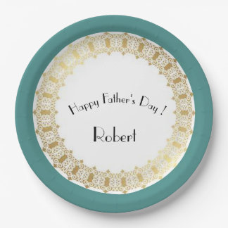 Stylish-Father's-Day_Medieval-Gold-Shield-Blue* Plato De Papel