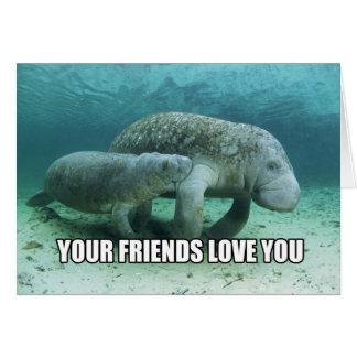 """""""Su amor de los amigos usted"""" tarjeta del Manatee"""
