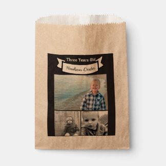 Su bandera rústica del collage de la foto tres bolsa de papel