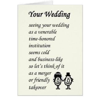Su boda - un poema divertido del boda tarjeta de felicitación