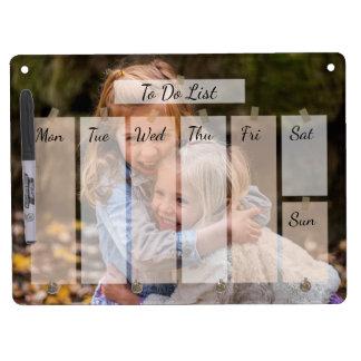 Su calendario preferido de la foto personalizado pizarra blanca con ganchos para llaves