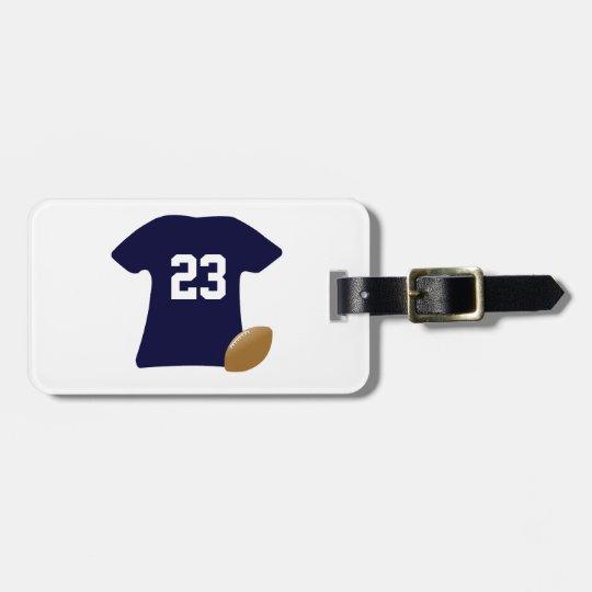 Su camisa del fútbol con la bola etiquetas para maletas
