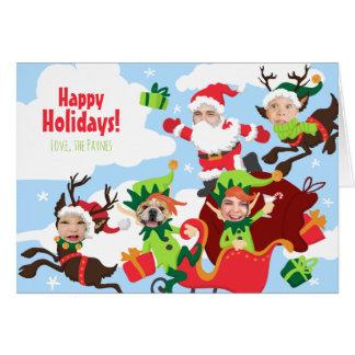 ¡Su cara aquí! Familia de 5 navidad divertido Tarjeta De Felicitación