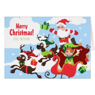 ¡Su cara aquí! Familia de tarjeta de Navidad 2