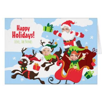 ¡Su cara aquí! Familia de tarjeta de Navidad 3
