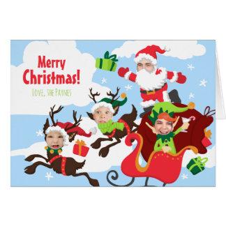 ¡Su cara aquí! Familia de tarjeta de Navidad 4