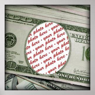 ¡Su cara en los $100 Bill! Añadir-UNO-Foto Póster