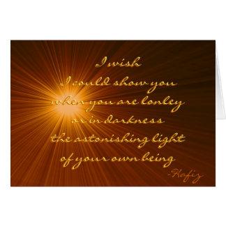 Su cita asombrosa de Hafiz de la luz…. Tarjeta