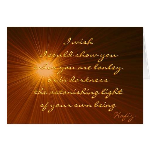 Su cita asombrosa de Hafiz de la luz…. Felicitaciones
