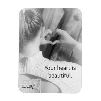 """""""Su corazón es"""" imán negro/blanco hermoso"""