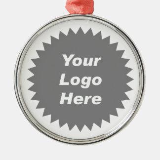 Su del negocio del logotipo promo aquí adorno redondo plateado