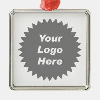Su del negocio del logotipo promo aquí adorno navideño cuadrado de metal