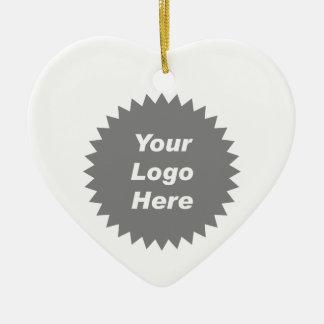Su del negocio del logotipo promo aquí adorno navideño de cerámica en forma de corazón