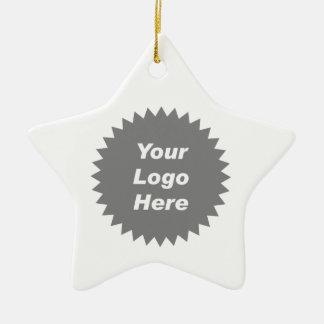 Su del negocio del logotipo promo aquí adorno navideño de cerámica en forma de estrella
