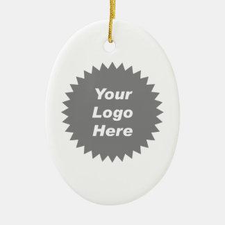 Su del negocio del logotipo promo aquí adorno navideño ovalado de cerámica