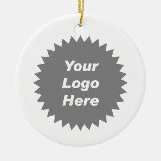 Su del negocio del logotipo promo aquí adorno navideño redondo de cerámica