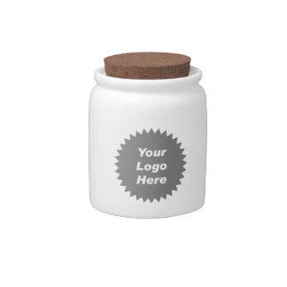 Su del negocio del logotipo promo aquí jarra para caramelo