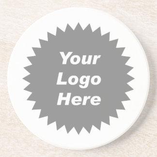 Su del negocio del logotipo promo aquí posavasos de arenisca
