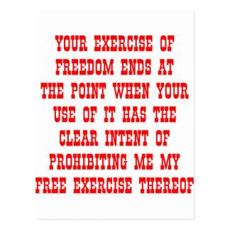 Su ejercicio de los extremos de la libertad en el  tarjeta postal