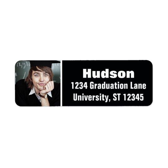 Su graduación aquí personalizada de la foto etiqueta de remitente