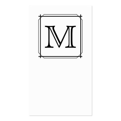 Su letra. Monograma de encargo. Blanco y negro Tarjeta De Visita