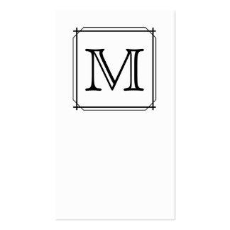 Su letra. Monograma de encargo. Blanco y negro Tarjetas De Visita