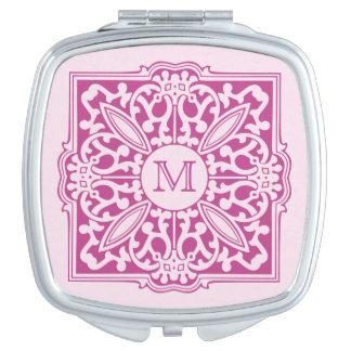 SU MONOGRAMA en espejo decorativo del bolsillo del Espejos Maquillaje
