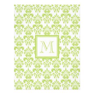 Su monograma, modelo verde claro 2 del damasco folleto 21,6 x 28 cm