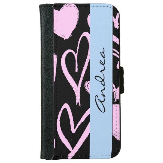 Su nombre - amor, romance, corazones - rosa negro carteras