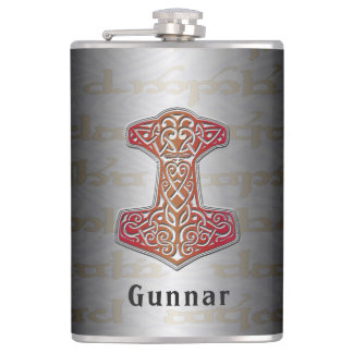 Su nombre en este frasco rojo de Mjölnir Petaca