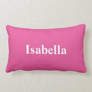 Su nombre en una almohada rosada brillante