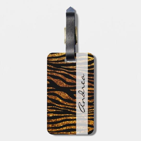 Su nombre - estampado de animales, cebra, brillo - etiqueta para maletas