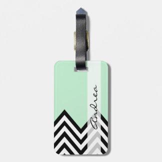 Su nombre - zigzag, Chevron - negro, verde menta Etiquetas Para Maletas