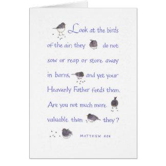 Su padre divino los alimenta/estímulo tarjeta de felicitación