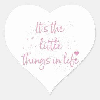 Su--pequeño-Cosa-en-Vida-cita-Rosado Pegatina En Forma De Corazón