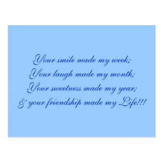 Su sonrisa hizo mi semana; Su risa hizo mi mont… Postal
