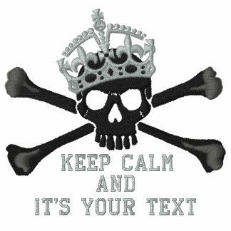 Su texto guarda el pecho tranquilo del cráneo de chaqueta de deporte bordada con cremallera