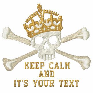 Su texto guarda el pecho tranquilo del cráneo de sudadera bordada con cremallera