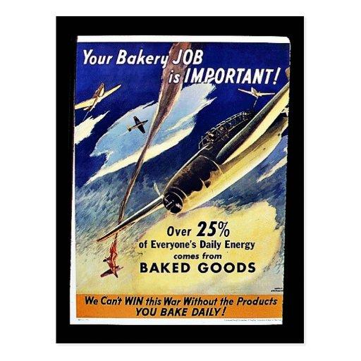 Su trabajo de la panadería es importante, reposter postales