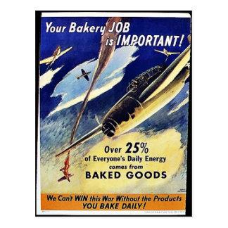 Su trabajo de la panadería es importante, reposter postal