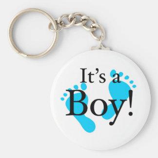 Su un muchacho - bebé, recién nacido, celebración llavero redondo tipo chapa