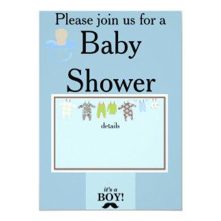 Su una fiesta de bienvenida al bebé del muchacho invitación 12,7 x 17,8 cm