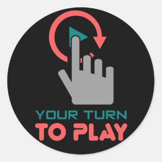 su vuelta a jugar pegatina redonda