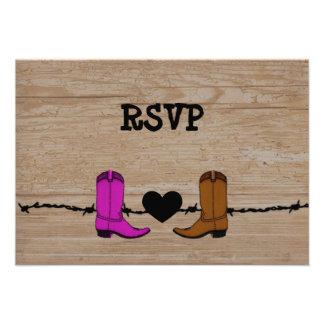 Su y su recepción RSVP de las botas de vaquero Invitaciones Personales
